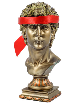 Golden Male Statuettes with red scarf photo