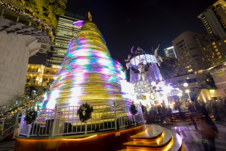 Hong Kong, China - December 31, 2013   Colorful Christmas tree on the 1881 Heritage  The Former Marine Police Headquarters Compound, constructed in 1884, is located in Tsim Sha Tsui, Kowloon, Hong Kong