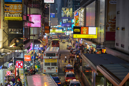 Hong Kong, China - January 04, 2014  Street Scene in Mongkok  Colorful shopping street Illuminated at night  Mongkok is a district in Hong Kong and has the highest population density in the world