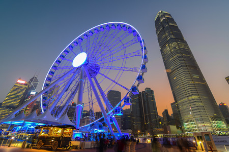 Hong Kong Ferris Wheel with IFC building Editorial