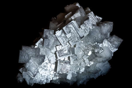 A cluster of cubic crystals of natural salt (NaCl) from a salt lake, isolated on a black background Stock Photo