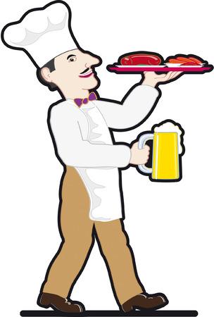 bandeja de comida: Chef con una jarra de cerveza y la bandeja de comida Vectores