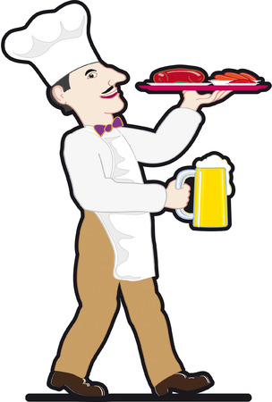 Chef with a mug of beer and food tray