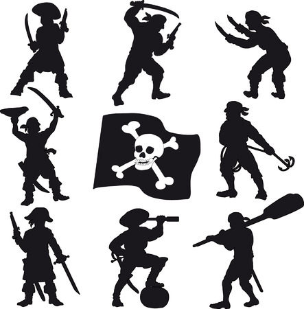 Pirates crew silhouettes Vector