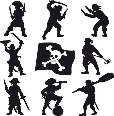 filibuster: Silhouettes Pirates crew Vettoriali