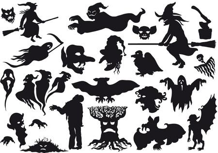 Halloween monsters silhouetten.