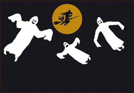 Witch en drie ghost  Stockfoto - 5405851