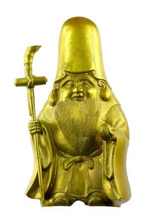 Brons monnik met pikestaff Stockfoto - 5419287