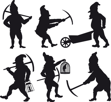 Gnomes silhouettes set 1 Vector
