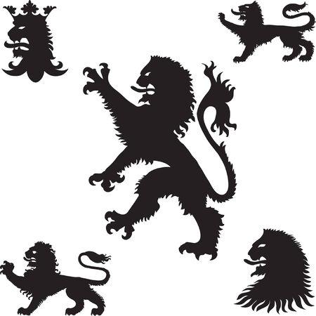 Heraldic lions silhouettes Vector