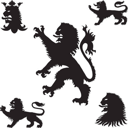 Heraldische leeuwen silhouetten  Stockfoto - 5698708