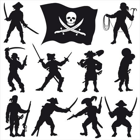 sabel: Piraten bemanning silhouetten set 2  Stock Illustratie