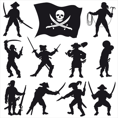 Pirates crew silhouettes Set 2 Vector