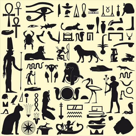 egyptian pyramids: Egyptian Symbols and Signs silhouettes Illustration