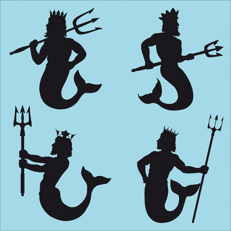 Neptune Silhouettes Illustration