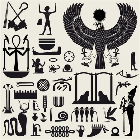 papiro: Sagome egiziano di simboli e segni set 2 Vettoriali