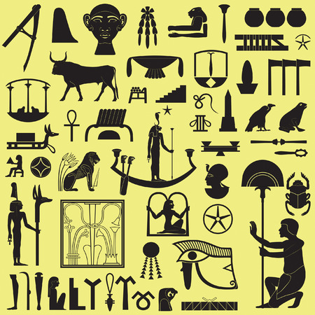 Egyptian Symbols and Signs silhouettes Set 3 Vector