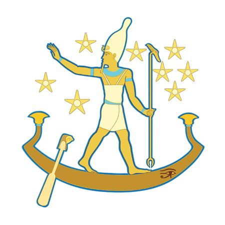 Pharaoh in the boat Vector