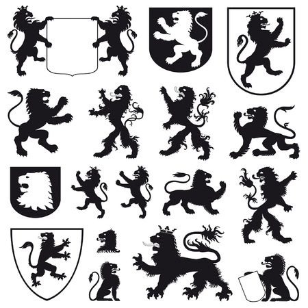 armory: Silhouettes of heraldic lions