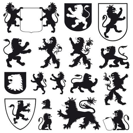 aristocracy: Silhouettes of heraldic lions