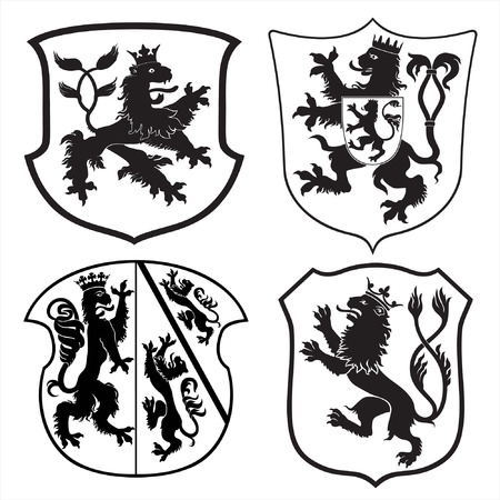 Heraldic lions and shields silhouettes