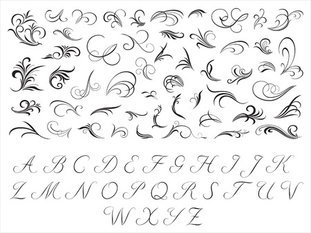 script: Floral patterns and initials