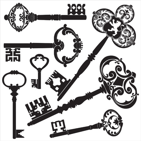 set of keys: Antique keys  Illustration