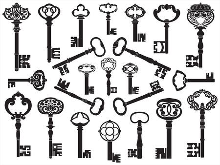 oude sleutel: Collectie van antieke toetsen  Stock Illustratie
