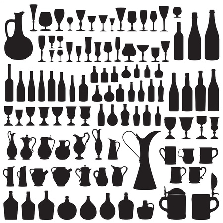 Wineware silhouettes Stock Vector - 9395526