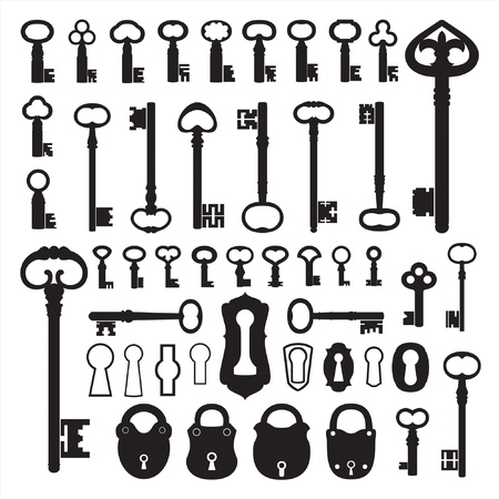 Silhouettes of old keys Stock Vector - 9722143