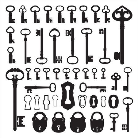 Klucze: Silhouettes starych kluczy Ilustracja