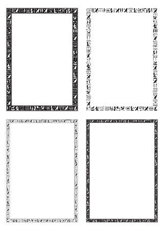 Jeroglíficos Egipcios En Blanco Y Negro De Fondo Ilustraciones ...