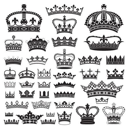 corona reina: CORONAS antiguo y decorativo Vectores