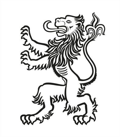 Lion Heraldic Stylized  Illustration