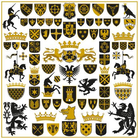 simbolo: ARALDICA Creste e simboli Vettoriali