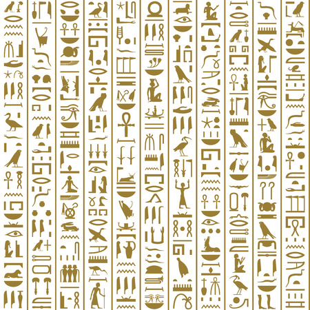 Ancient Egyptian Hieroglyphs Seamless Stok Fotoğraf - 39898395