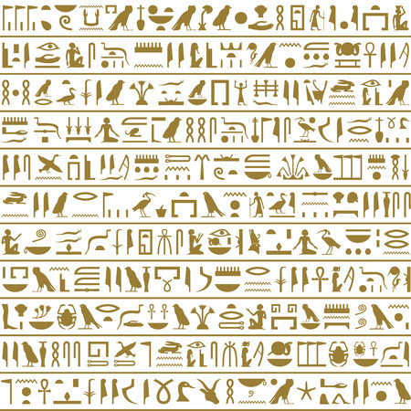 pharaoh: Ancient Egyptian Hieroglyphs Seamless Horizontal Illustration