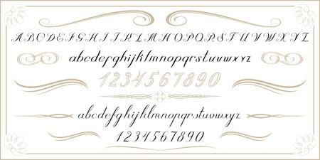 ALPHABET oude handgeschreven letters en cijfers Stockfoto - 43262149