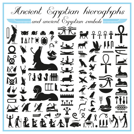 egyptian pyramids: Ancient Egyptian hieroglyphs and symbols
