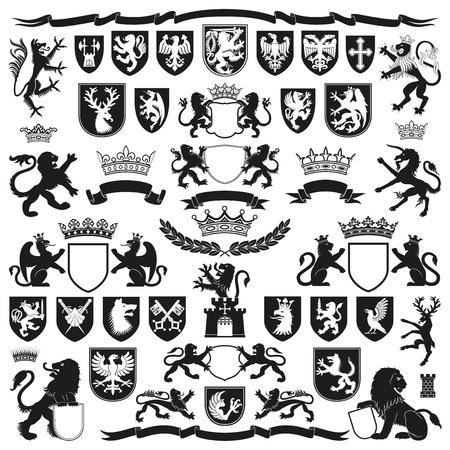 caballero medieval: Símbolos Heráldica y Elementos Decorativos