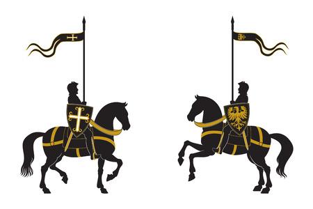 edad media: Las siluetas de dos caballeros Vectores