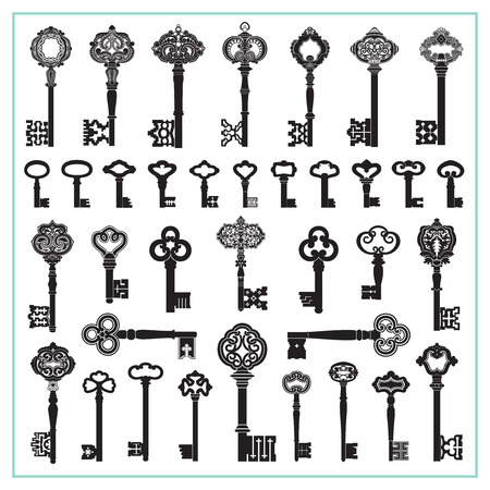 passkey: Antique Keys Silhouettes Illustration