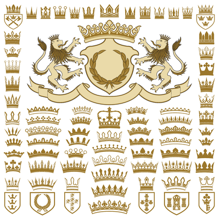 Heraldic crests and crowns collection Stock Illustratie