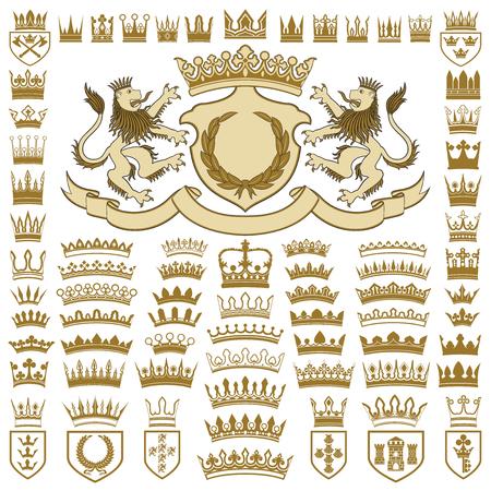 Heraldische kammen en kronen collectie Stockfoto - 74685755