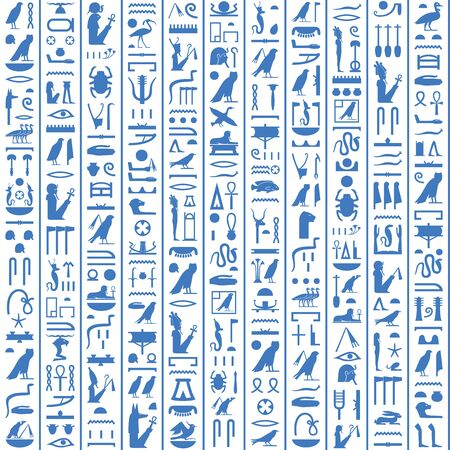 Hieroglyphs of Ancient Egypt dark blue design. Illustration
