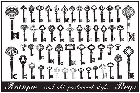 Llaves de estilo antiguo y pasado de moda.