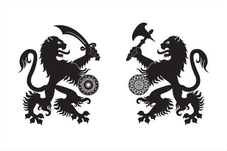 Two black silhouettes of armed heraldic lions.