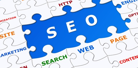 search engine optimized: SEO puzzle graphic  Stock Photo