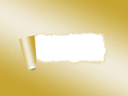 Torn paper golden background with empty place for text photo