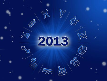 Astro 2013 , horoscope circle with zodiac signs photo
